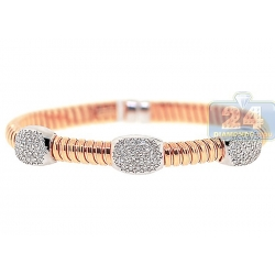 14K Rose Gold 0.54 ct Diamond Station Womens Cuff Bracelet