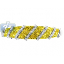 14K White Gold 2.50 ct Canary Diamond Womens Bangle Bracelet