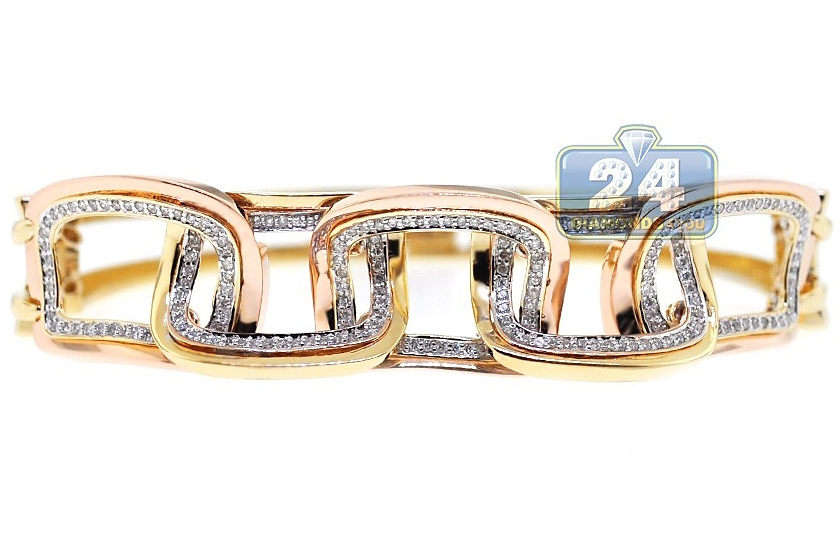 14k Two Tone Gold 0 59 Ct Diamond Rectangle Link Womens Bracelet