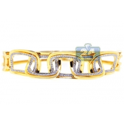 14K Yellow Gold 0.61 ct Diamond Rectangle Link Womens Bracelet