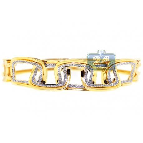 Womens Diamond Rectangle Link Bracelet 14K Yellow Gold 0.61 ct
