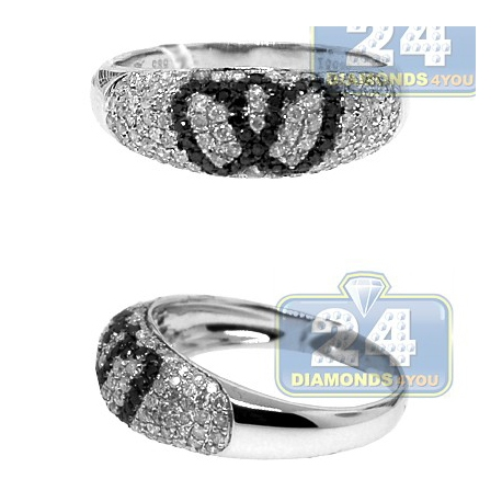 14K White Gold 0.77 ct Black Diamond Double Heart Womens Band Ring