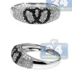 14K White Gold 0.77 ct Black Diamond Double Heart Womens Ring