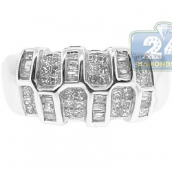 14K White Gold 0.80 ct Mixed Diamond Womens Wide Ring