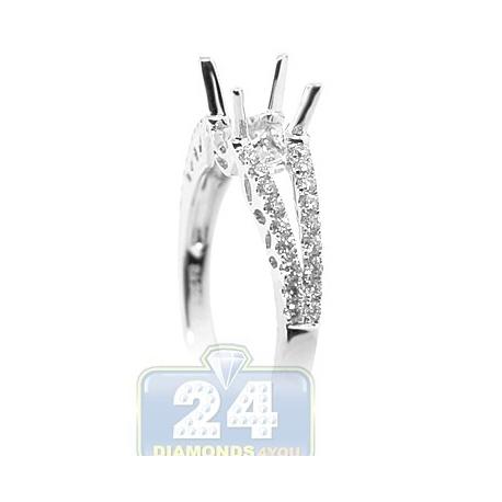 18K White Gold 0.39 ct Diamond Openwork Engagement Ring Setting