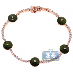 14K Rose Gold 0.85 ct Diamond Green Evil Eye Womens Bracelet
