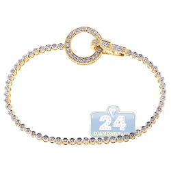 14K Yellow Gold 1.00 ct Diamond Circle Womens Tennis Bracelet