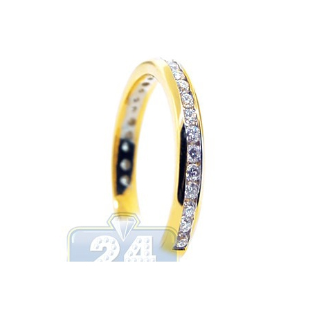 14K Yellow Gold 0.51 ct Channel Set Diamond Womens Band Ring