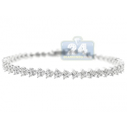 14K White Gold 3.59 ct Diamond Cluster Womens Tennis Bracelet