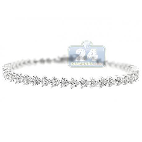 Womens Diamond Cluster Tennis Bracelet 14K White Gold 3.59 ct