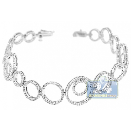 Womens Diamond Open Circle Bracelet 14K White Gold 1.80 ct 7.5""