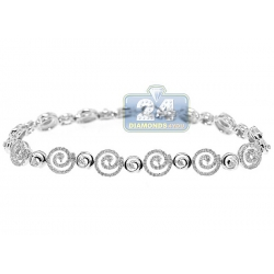 14K White Gold 1.85 ct Diamond Swirl Link Womens Bracelet