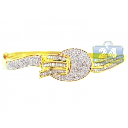 14K Yellow Gold 2.00 ct Diamond Womens Round Bangle Bracelet