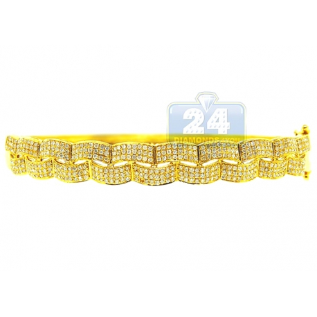 Womens Diamond Woven Bangle Bracelet 14K Yellow Gold 1.24 ct 7""