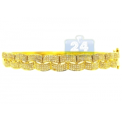 14K Yellow Gold 1.24 ct Diamond Womens Woven Bangle Bracelet