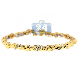 14K Yellow Gold 0.35 ct Diamond Wave Womens Tennis Bracelet