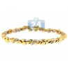 Womens Channel Set Diamond Wave Tennis Bracelet 14K Yellow Gold