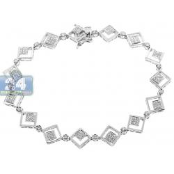 "Womens Diamond Square Link Bracelet 14K White Gold 1.00 ct 7.5"""