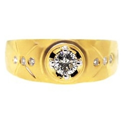 14K Matte Yellow Gold 0.67 ct Round Diamond Mens Slim Ring