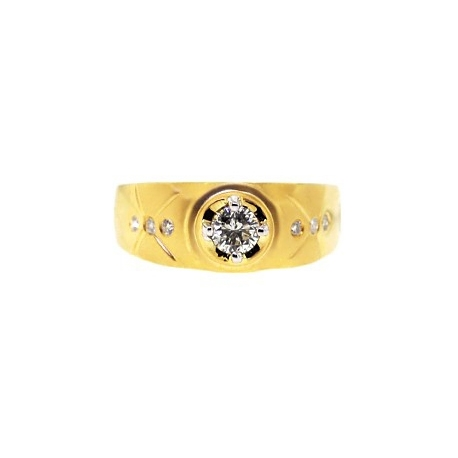 14K Matte Yellow Gold 0.67 ct Round Cut Diamond Mens Slim Ring