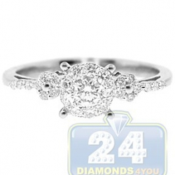 14K White Gold 0.45 ct Diamond Cluster Engagement Ring