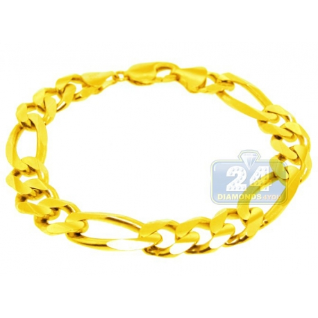 Solid 10K Yellow Gold Figaro Link Mens Bracelet 13 mm 9 Inches