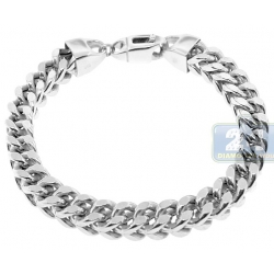 10K White Gold Hollow Franco Mens Bracelet 8 mm 9 Inches