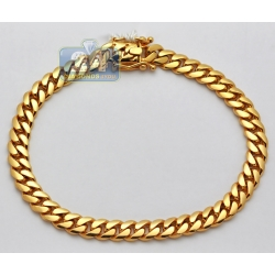 14K Yellow Gold Miami Cuban Link Mens Bracelet 7 mm 10 Inches