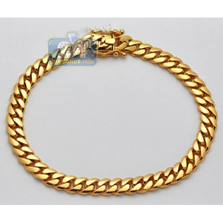 Solid 14K Yellow Gold Miami Cuban Link Mens Bracelet 7mm 10""