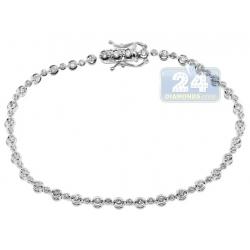 "Womens Diamond Halo Tennis Bracelet 14K White Gold 1.16 ct 7"""