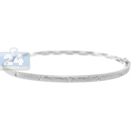 Womens Diamond Hammered Bangle Bracelet 14K White Gold 0.39 ct
