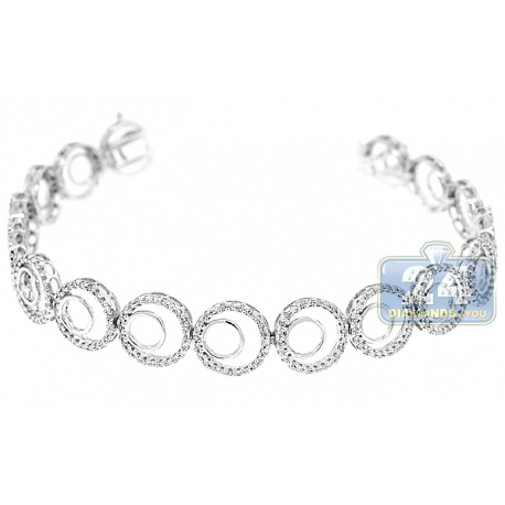 Womens Diamond Open Circle Link Bracelet 14K White Gold 1.60 ct