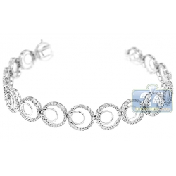 14K White Gold 1.60 ct Diamond Circle Link Womens Bracelet