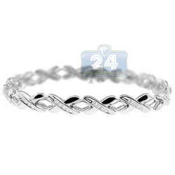 14K White Gold 0.73 ct Diamond X Link Womens Bracelet