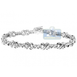 14K White Gold 1.40 ct Diamond X Link Womens Bracelet