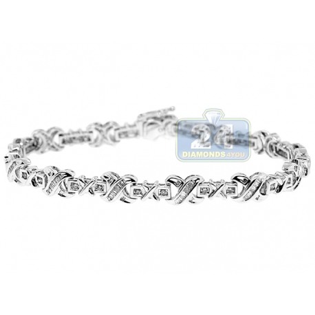 Womens Baguette Diamond X Link Bracelet 14K White Gold 1.40 ct