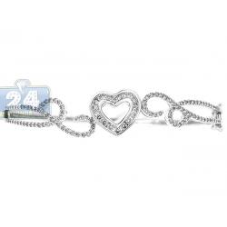 """Womens Diamond Heart Bangle Bracelet 14K White Gold 1.20 ct 7"""""""