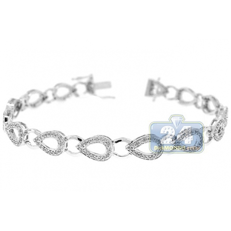 Womens Diamond Pear Shape Link Bracelet 14K White Gold 1.00 ct