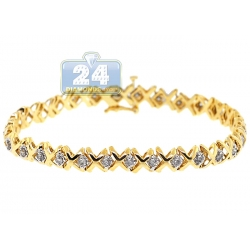 14K Yellow Gold 1.70 ct Diamond X Link Womens Tennis Bracelet