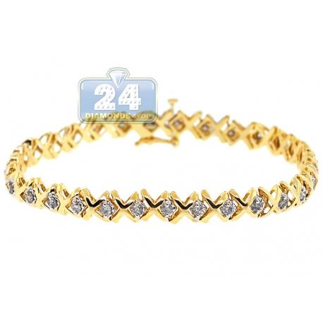 Womens Diamond X Link Tennis Bracelet 14K Yellow Gold 1.70 ct