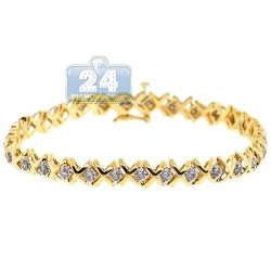 14K Yellow Gold 1.70 ct Diamond X Link Womens Tennis Bracelet