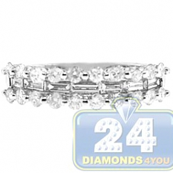 14K White Gold 1.07 ct Round Baguette Diamond Womens Band Ring