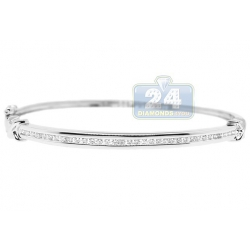 14K White Gold 0.52 ct Diamond Womens X Bangle Bracelet