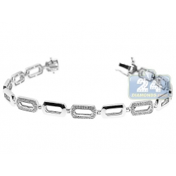 14K White Gold 0.80 ct Diamond Oval Link Womens Bracelet