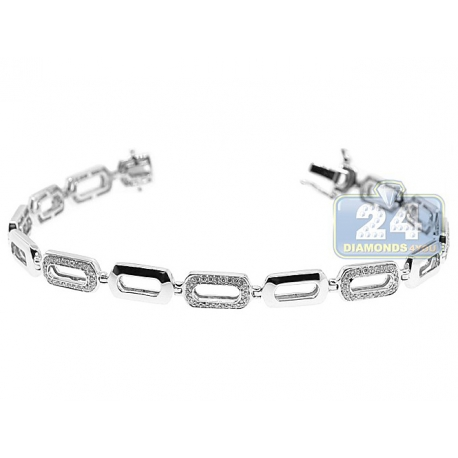 Womens Diamond Open Oval Link Bracelet 14K White Gold 0.80 ct