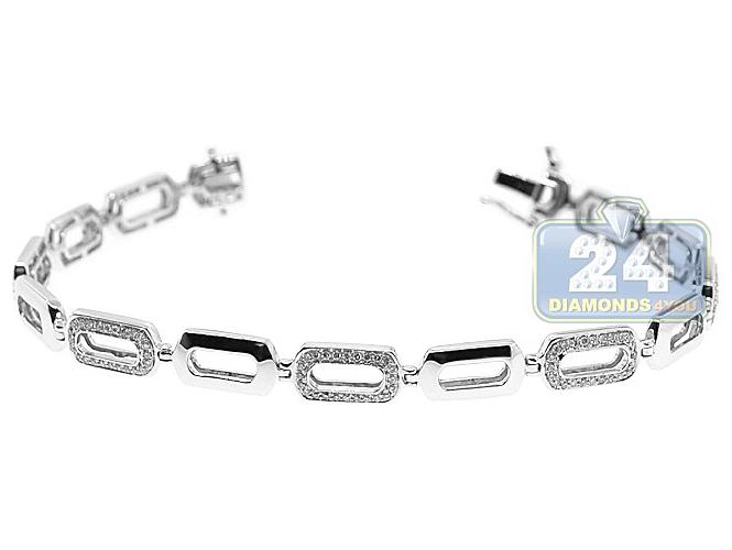 414a0db9c77b2 Womens Diamond Open Oval Link Bracelet 14K White Gold 0.80 ct
