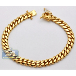 10K Yellow Gold Miami Cuban Link Mens Bracelet 9 mm 9 Inches