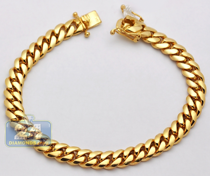 55e098c4d394a 10K Yellow Gold Miami Cuban Link Mens Bracelet 9 mm 9 Inches