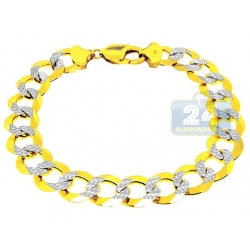 10K Two Tone Gold Curb Diamond Cut Mens Bracelet 12 mm 9 Inch