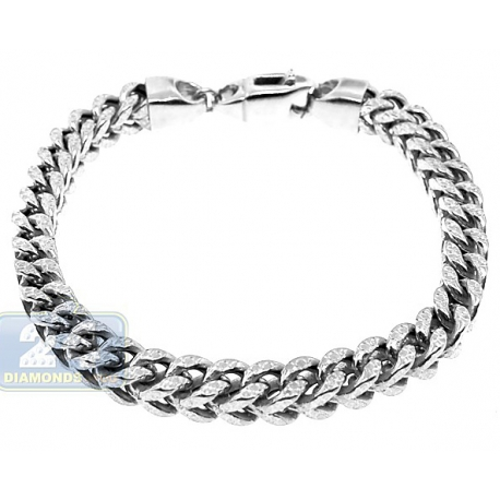 10K White Gold Franco Diamond Cut Link Mens Bracelet 7mm 9""